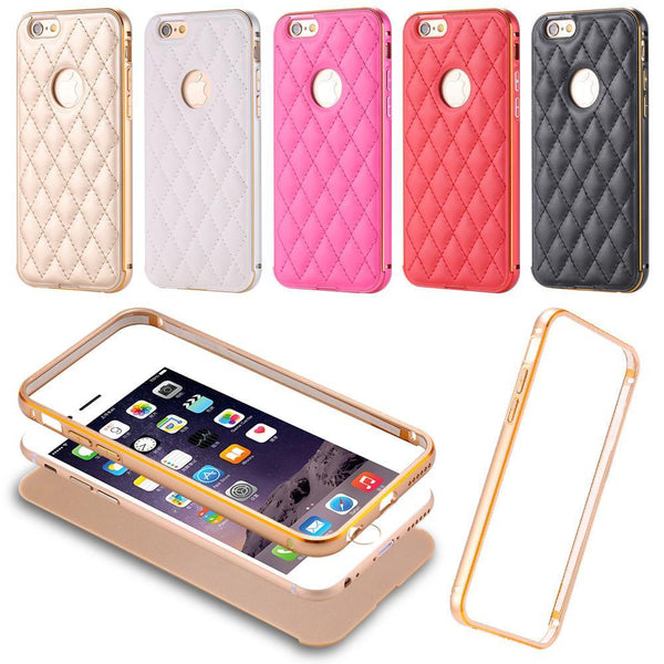 Phone Case - Luxury Leather + Metal Case For IPhone