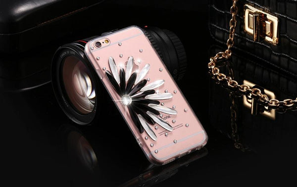 Phone Case - Sun Flower Diamond Clear Case For IPhone