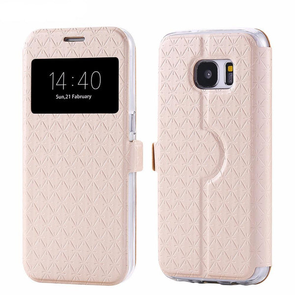 Phone Case - Window View Grid Pattern Leather Cover With Card Slot For Samsung