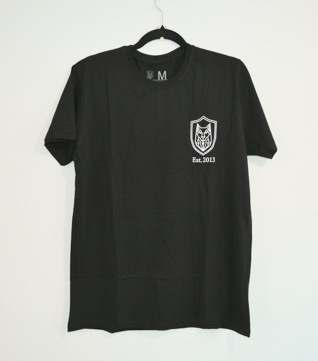 Black Wolf Shield T-Shirt (short sleeve/ black or white)