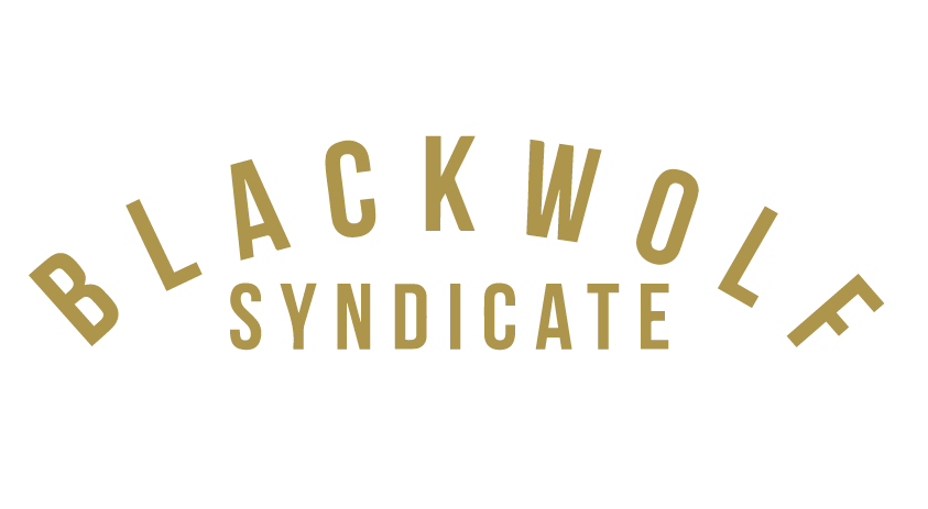 Arched Black Wolf Syndicate Decal - Gold / Orange
