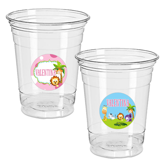Zoo animals pink 12oz plastic cup with sticker clear 24 pack