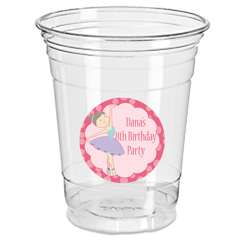ballet ballerina 12oz plastic cup with sticker clear 25 pack