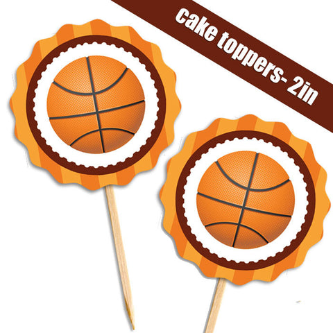 Basketball Food Picks Cupcake Toppers 28 Pieces