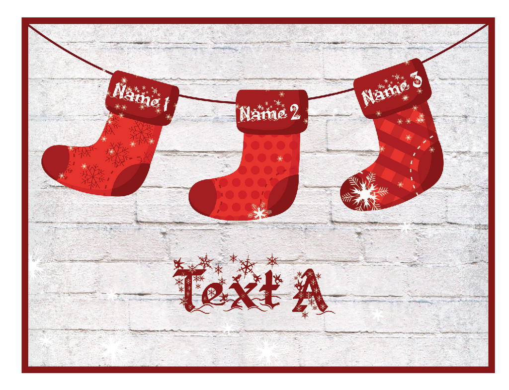 Stockings With Names On Them Part - 26: Christmas Cards - Christmas Stockings With Names - 8 Pack - MyPaperDot