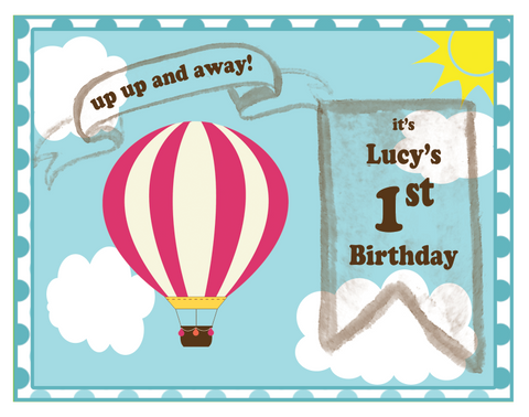 Hot air balloon party mypaperdot hot air balloon birthday party invitations 8 pack filmwisefo Choice Image