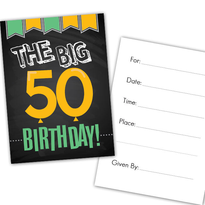 50th birthday party party pre designed invitation 8 pack