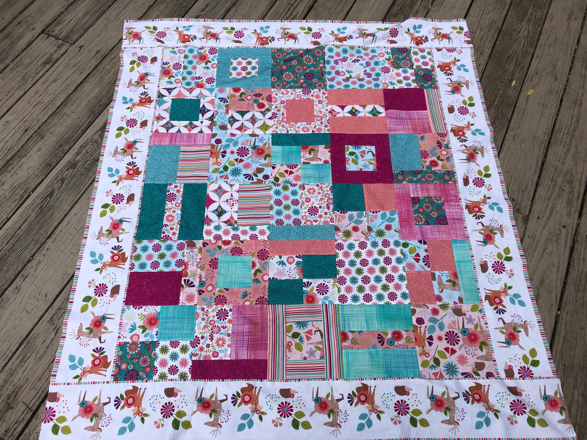 Go with the Flow Cutie Quilt Kit featuring Northcott Forest Frolic
