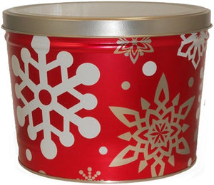 red snow flake tin