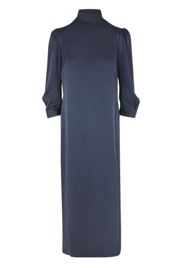 Julia Leifert, womens, silk dress, midi length, dark blue, mock neck,  long sleeve, elegant fit