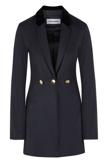 Julia Leifert, long blazer, three buttons, merino wool, slim fit, dark blue with white dots, made in Germany