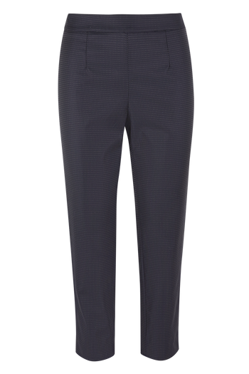 Julia Leifert, suit, pants, merino wool, dark blue with white dots, cropped legs, side zipper,