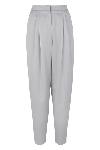 Julia Leifert, merino wool, pants, loose fit, wide leg, pleated, light grey