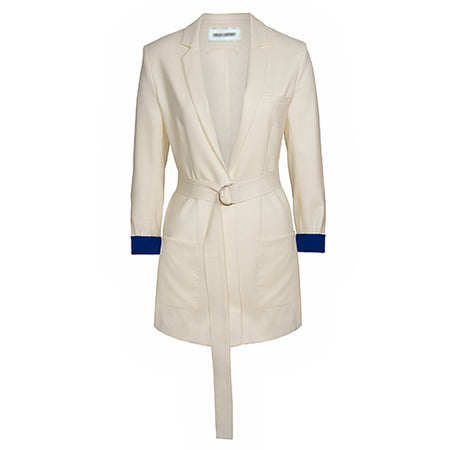 Julia Leifert, Blazer, Damen, Designer Mode, elegant, organic, virgin wool women's wear, suiting, Damen Business, long blazer, color block, natural, made to Order, Made in Germany