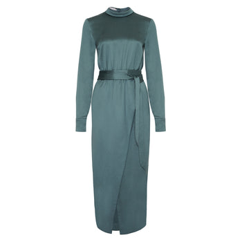 Philomena Zanetti green tencel long sleeve wrap dress with belt