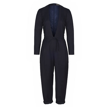PHILOMENA - woman evening jumpsuit navy deep neckline with belt