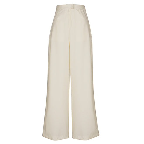 PHILOMENA finest virgin wool woman wide leg pants off white