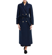 Philomena Zanetti dark blue navi double breasted coat woman military organic cotton