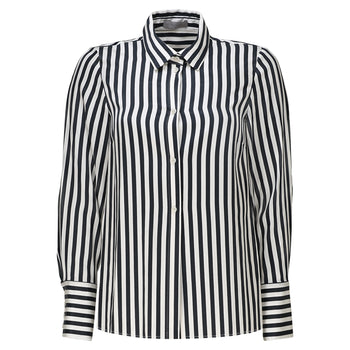 Philomena Zanetti black and white stripe cupro blouse woman