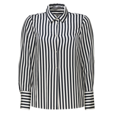 Julia Leifert, black and white, striped tencel, blouse, womens, long sleeve