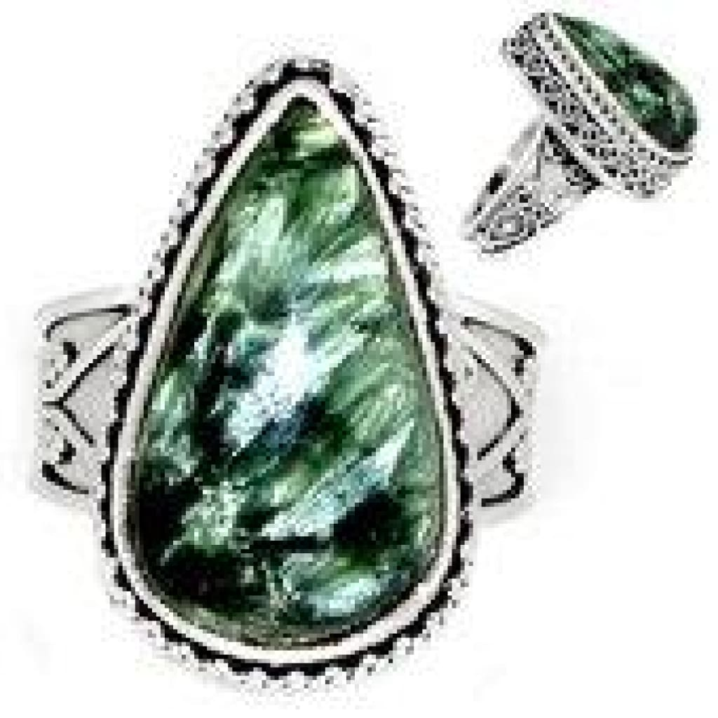 Seraphinite Ring Size 8 - Seraphinite jewelry - Size 8 Ring - Seraphinite cabochon - healing crystals and stones - heart chakra 735