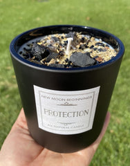 Protection Candle 16oz Ceramic Black Jar - White Soy Candle - Smudge Candle - Crystal & Herb Candles - Protection crystal candle