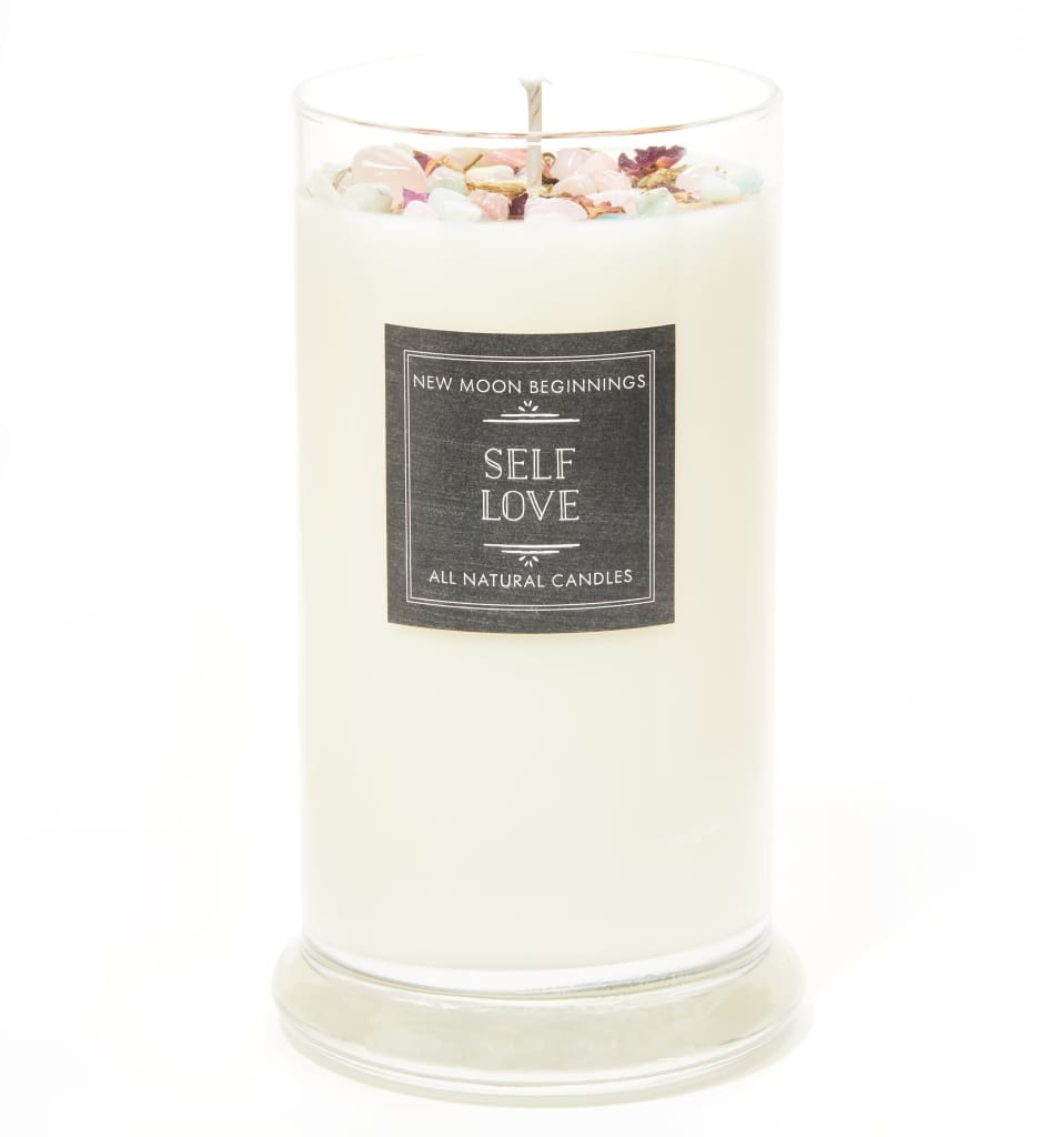 Self Love Candle - Negative Energy Cleansing - Soy Aromatherapy Candle - Handmade Candle with Crystals & Herbs - Self Care Candle