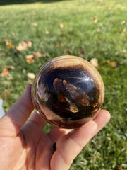 Chocolate Calcite Stone Sphere - Stone Sphere - brown calcite stone sphere - root beer calcite stone - Chocolate calcite crystal sphere 2