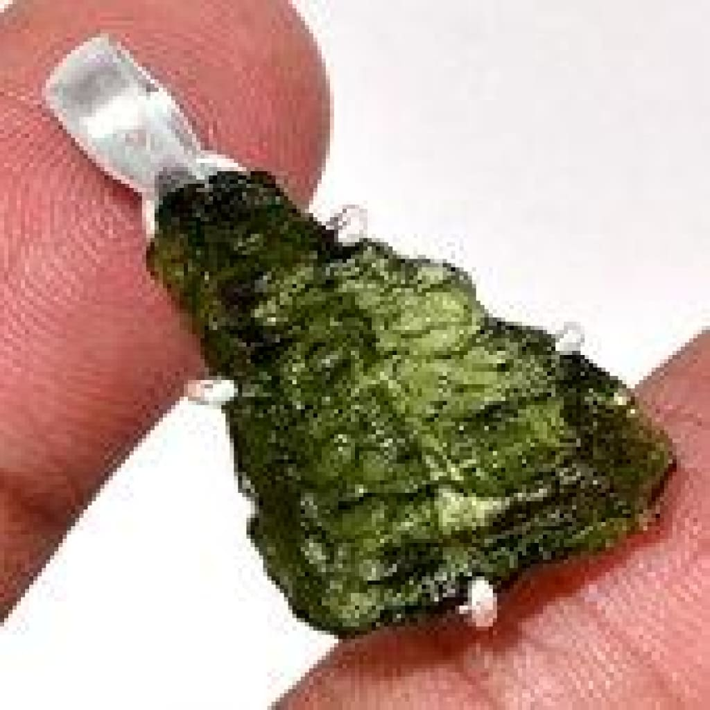 Moldavite Necklace - Raw Moldavite Pendant - healing crystal necklace - healing necklace - Moldavite Jewelry - Sterling silver 2474