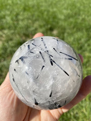 Tourmalinated quartz sphere - Black tourmalated quartz sphere - tourmalated quartz crystal sphere - black tourmaline quartz sphere 6