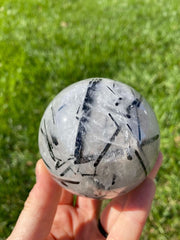Tourmalinated quartz sphere - Black tourmalated quartz sphere - tourmalated quartz crystal sphere - black tourmaline quartz sphere 1