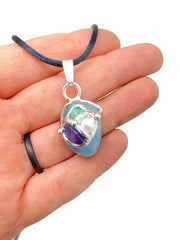 Manifestation Pendant tumbled stone - Ask, Believe, Receive - Emerald, Aquamarine, Amethyst, Pearl, Clear Quartz - The Law of Attraction