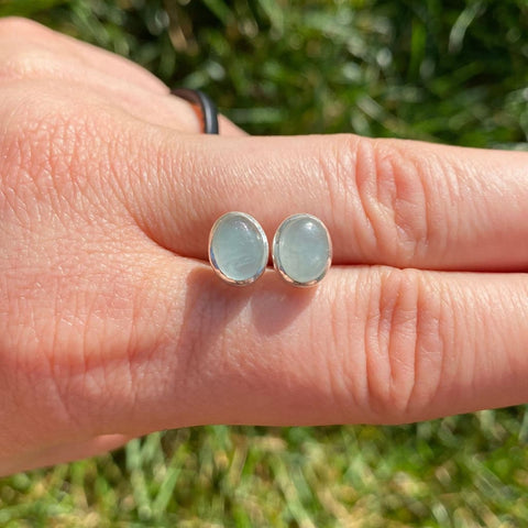 Aquamarine Earrings sterling silver Oval - Aquamarine Stud Earrings - raw aquamarine stone - crystal stud earrings silver aquamarine crystal