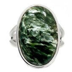 Seraphinite Ring Size 9.5 - Seraphinite jewelry - Size 9.5 Ring - Seraphinite cabochon - healing crystals and stones - heart chakra 744