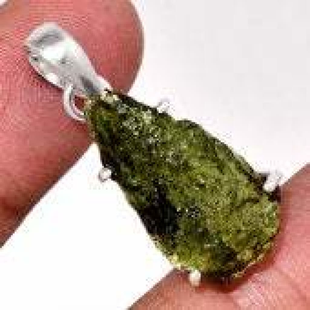 Raw Moldavite Pendant - Moldavite Necklace - Raw Moldavite - healing crystals and stones - Sterling silver pendant - moldavite crystal 2486
