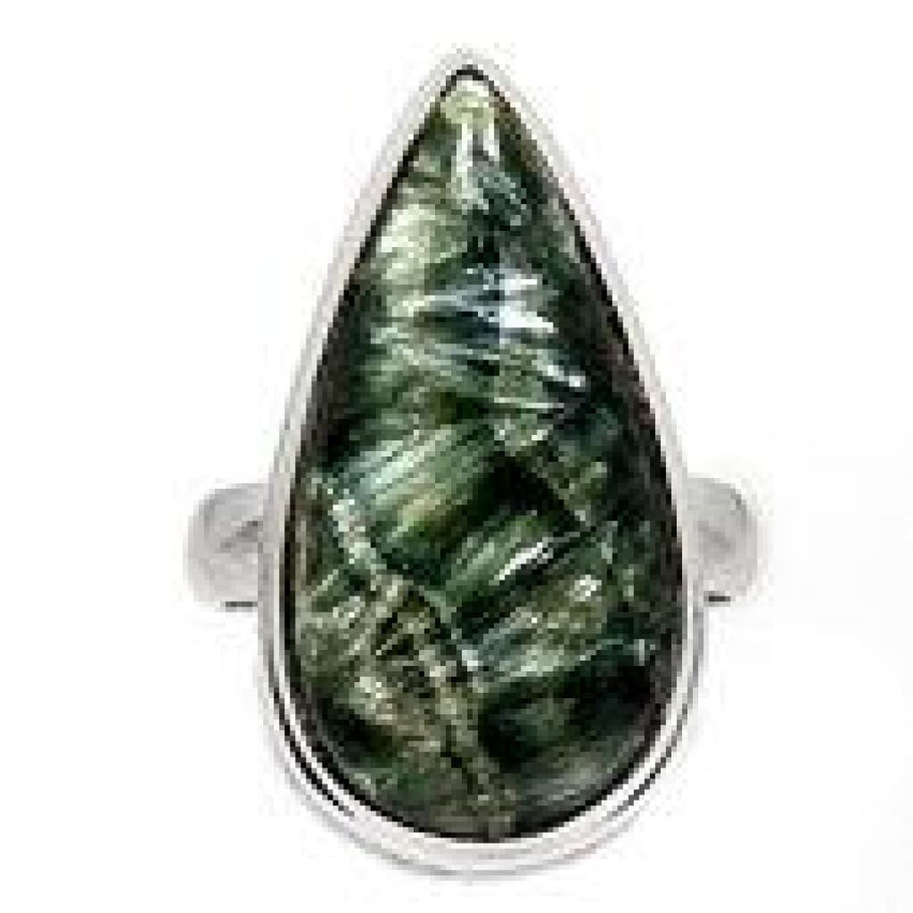 Seraphinite Ring Size 6 - Seraphinite jewelry - Size 6 Ring - Seraphinite cabochon - healing crystals and stones - heart chakra 741