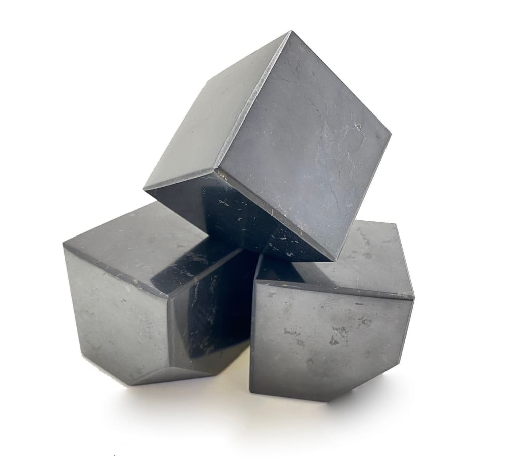 Shungite Cube with cut edge for standing - shungite stone cube - emf protection - shungite crystal cube- root chakra stones