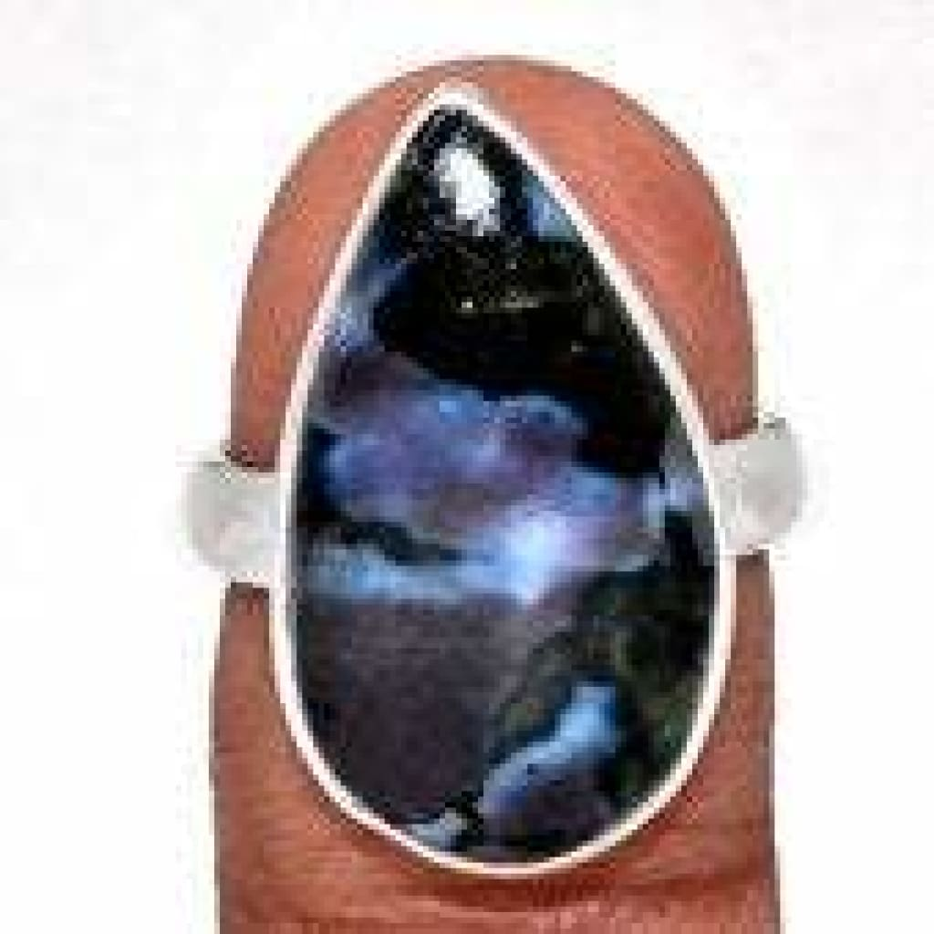 Indigo Gabbro Ring - Mystic Merlinite Ring Size 7 - Sterling Silver size 7 ring - Indigo Gabbro Jewelry - Mystic Merlinite stone jewelry 155