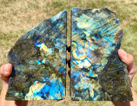 Labradorite Bookend - Labradorite stone bookend - healing crystals and stones - Labradorite slab - rough labradorite - raw labradorite 693
