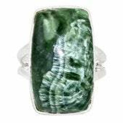 Seraphinite Ring Size 7.5 - Seraphinite jewelry - Size 7.5 Ring - Seraphinite cabochon - healing crystals and stones - heart chakra 717