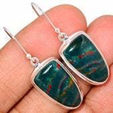 Bloodstone Earrings - Sterling Silver Earrings - Bloodstone Jewelry - healing crystals and stones - Bloodstone flat - bloodstone 329