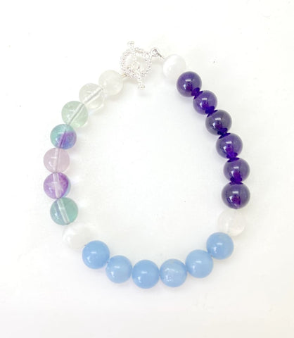Air Element Bracelet - selenite, rainbow fluorite, amethyst, and angelite bracelet -  Healing Crystal Bracelet - Inspiration - Creativity