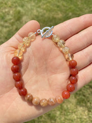 Fire Element Bracelet (sunstone, carnelian, citrine crystals)