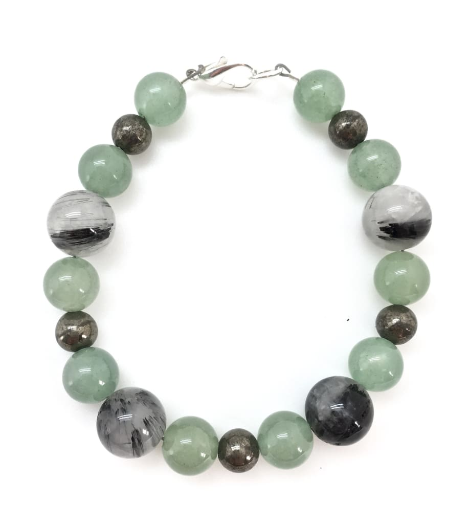 Good Luck & Protection Bracelet (Pyrite, Tourmalinated Quartz & Green Aventurine)