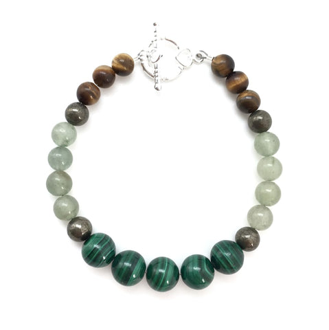 Protect and Change your Luck Bracelet (Malachite, Pyrite, Tigers Eye, & Green Aventurine)