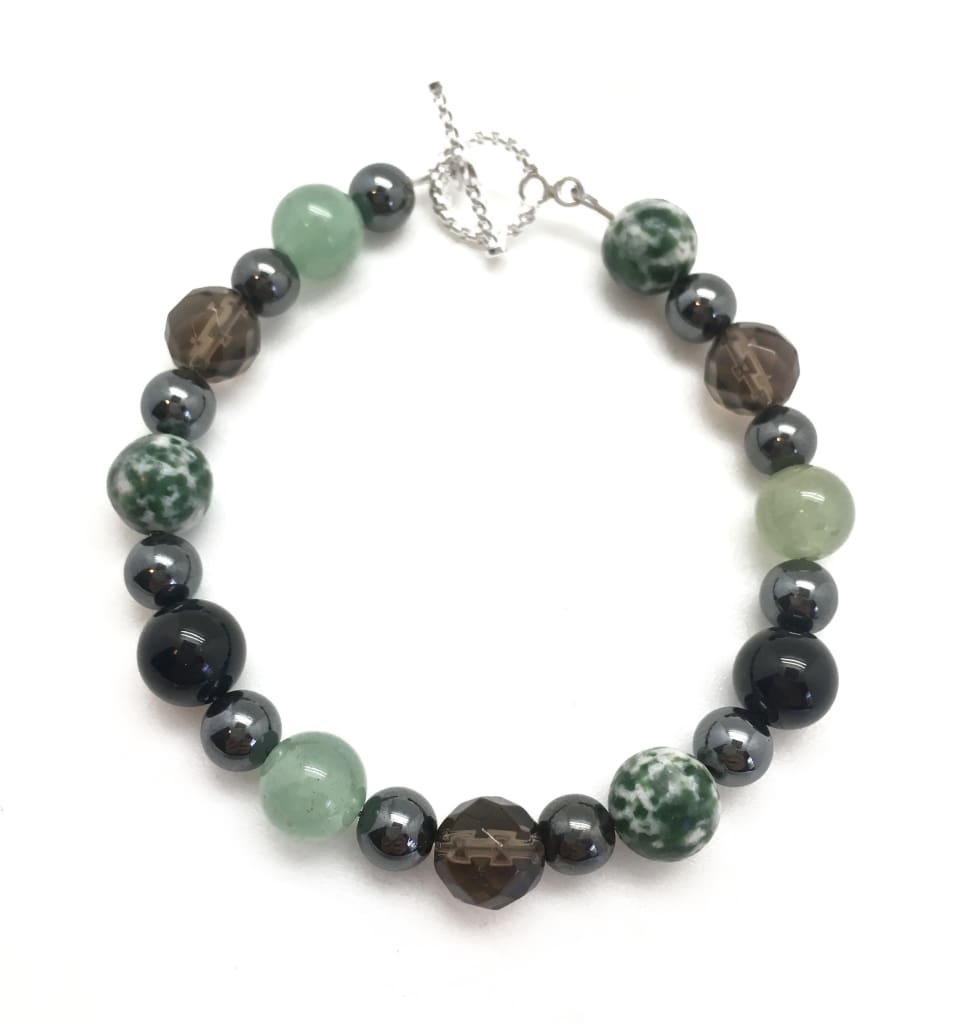 Grounding Bracelet (Hematite, Green Aventurine, Black Tourmaline, Tree Agate, and Smoky Quartz)