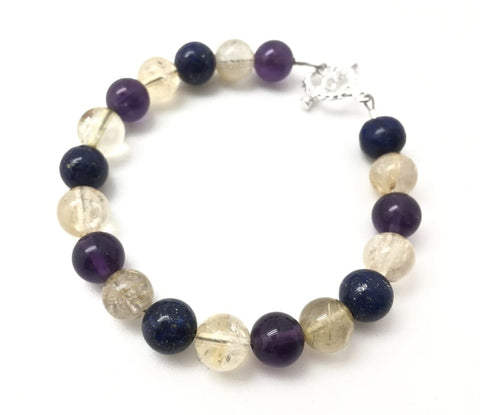 Healing Energy Bracelet - golden rutilated quartz, amethyst, lapis lazuli, & citrine