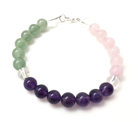 Attract Love Bracelet (Green Aventurine, Amethyst Quartz and Rose Quartz)