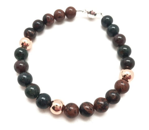 Circulation Bracelet (Mahogany Obsidian, Bloodstone, & Copper)