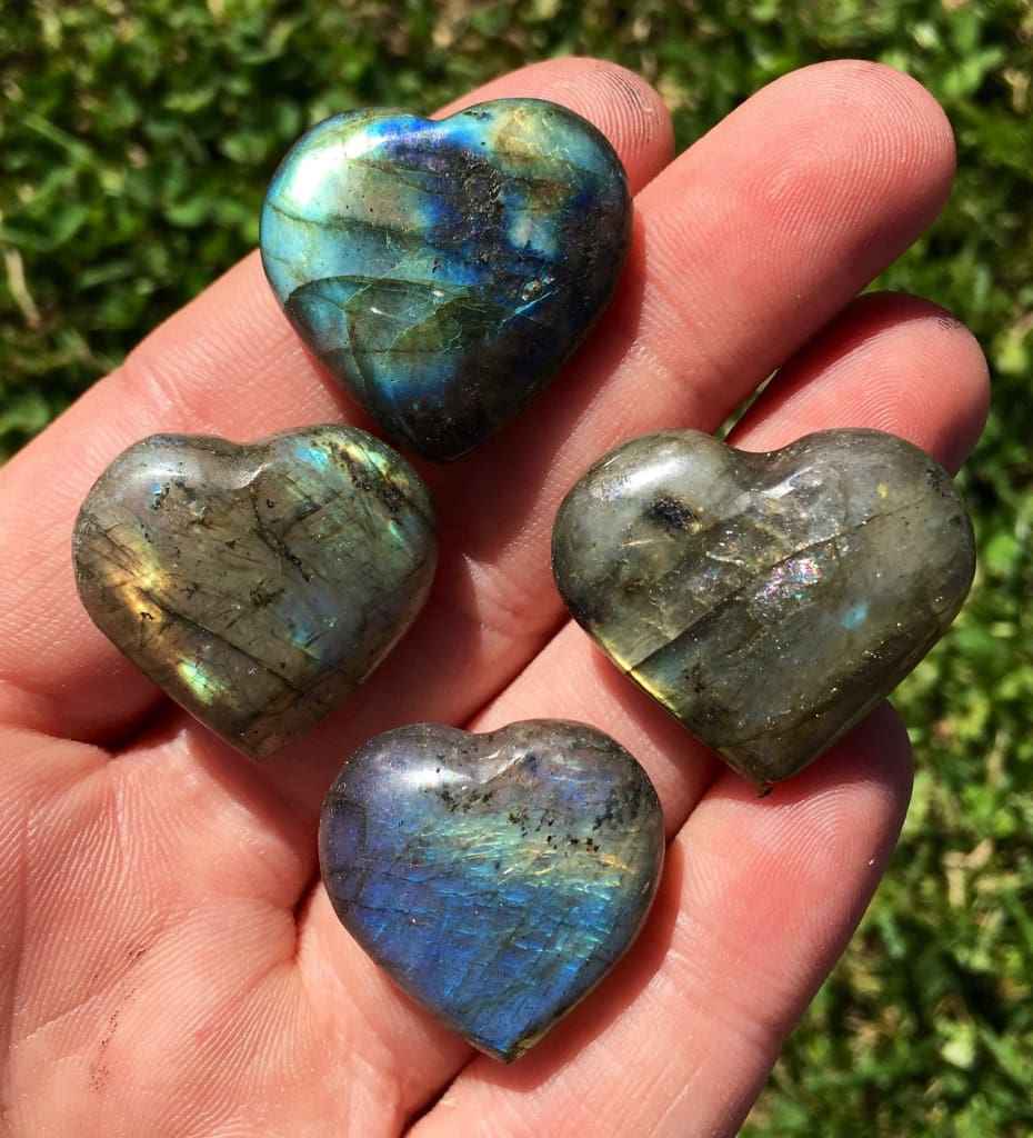Healing Stones Gift E0750 Self Care Details about  /LABRADORITE Crystal Heart Home Decor